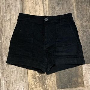 H&M, Black Cotton Twill Shorts with Patch Pockets